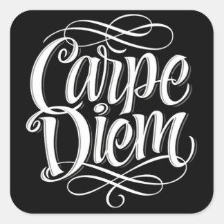 Carpe Diem Motivational Typography Square Sticker
