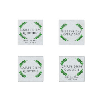 Carpe Diem Quotidie - Seize the day, every day Stone Magnets
