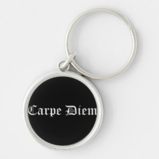 Carpe Diem Silver-Colored Round Keychain