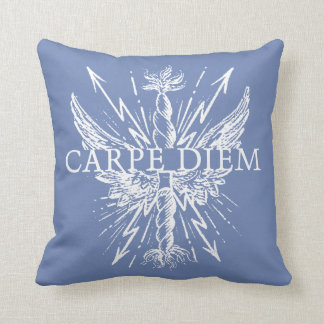 Carpe Diem Wings Lightning Bolts Throw Pillows