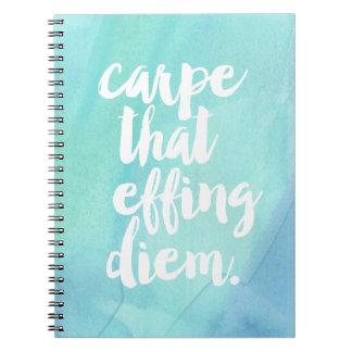 Carpe That Effing Diem   Aqua Spiral Notebooks