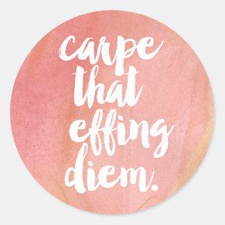 Carpe That Effing Diem Pink Watercolor Quote Round Sticker
