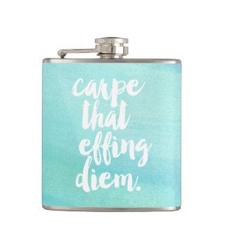 Carpe That Effing Diem Quote Aqua Watercolor Hip Flask