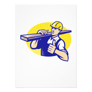 Carpenter Builder Worker Thumbs Up Custom Announcements