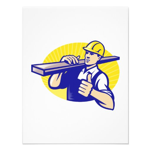 Carpenter Builder Worker Thumbs Up Personalized Invite