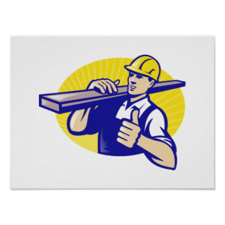 Carpenter Builder Worker Thumbs Up Print