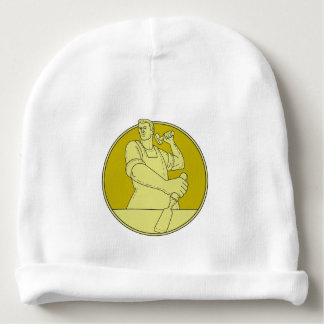 Carpenter Carver Chisel Circle Mono Line Baby Beanie
