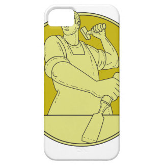 Carpenter Carver Chisel Circle Mono Line iPhone 5 Case
