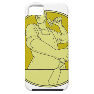 Carpenter Carver Chisel Circle Mono Line iPhone 5 Cases