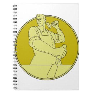 Carpenter Carver Chisel Circle Mono Line Spiral Notebook