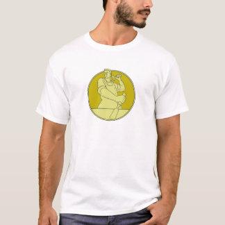 Carpenter Carver Chisel Circle Mono Line T-Shirt