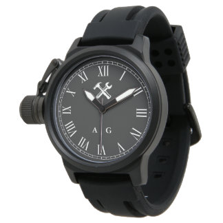 Carpenter | Handyman Custom Initials Roman Numeral Watch