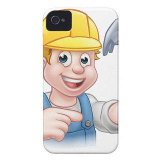 Carpenter Handyman in Hard Hat Holding Hammer Tool iPhone 4 Cover