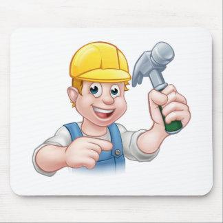 Carpenter Handyman in Hard Hat Holding Hammer Tool Mouse Pad