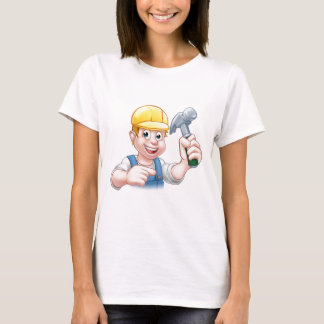 Carpenter Handyman in Hard Hat Holding Hammer Tool T-Shirt