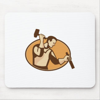 carpenter sculptor with hammer chisel retro mouse pad