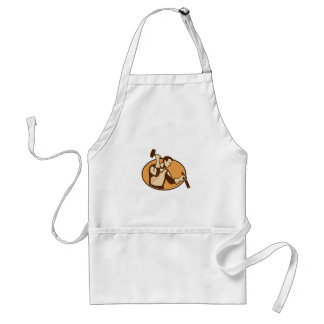 carpenter sculptor with hammer chisel retro standard apron