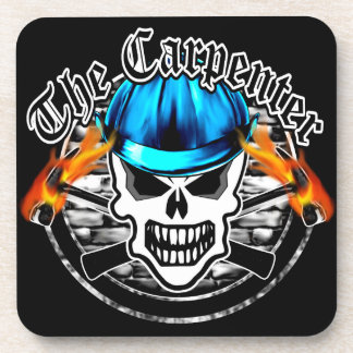 Carpenter Skull and Blue Hard Hat Drink Coasters