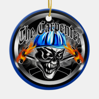 Carpenter Skull with Blue Hard Hat Ceramic Ornament