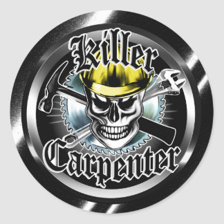 Carpenter Skull with Yellow Hard: Killer Carpenter Round Sticker