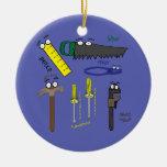 Carpenter Tools Whimsical Cartoon Art Christmas Ornaments