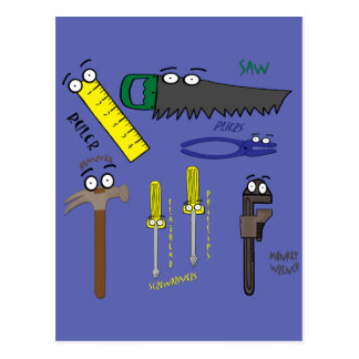 Carpenter Tools Whimsical Cartoon Art Postcard
