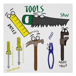 Carpenter Tools with Eyes Cartoon Art Poster
