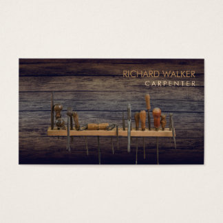 Carpenter Tools Woodwork Professional Rustic Wood Business Card