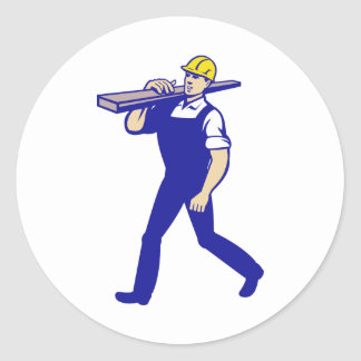 Carpenter Tradesman Carrying Timber Lumber Classic Round Sticker