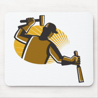 carpenter worker with hammer and chisel mouse pad