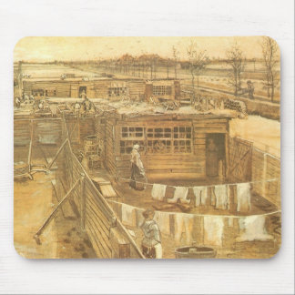 Carpenter's Yard and Laundry by Vincent van Gogh Mouse Pad