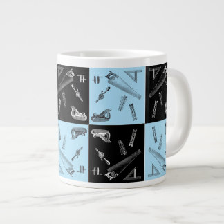 Carpentry Tools in Blue and Black Tiles Large Coffee Mug