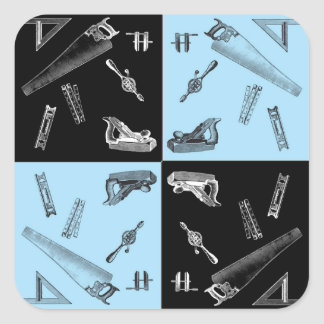Carpentry Tools in Blue and Black Tiles Square Sticker