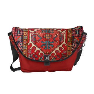 Carpet-bag style, from print of vintage carpet, courier bags