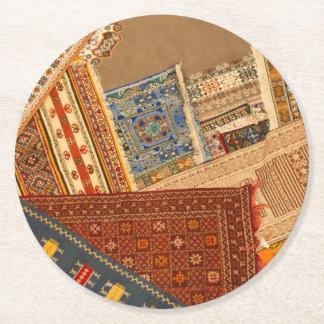 Carpet Collage Close Up Round Paper Coaster