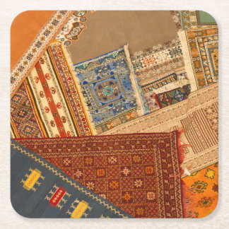 Carpet Collage Close Up Square Paper Coaster
