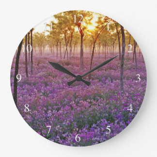 Carpet of Purple Flowers Small Numbers Large Clock