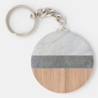 Carrara Marble, Concrete, and Teak Wood Abstract Basic Round Button Keychain