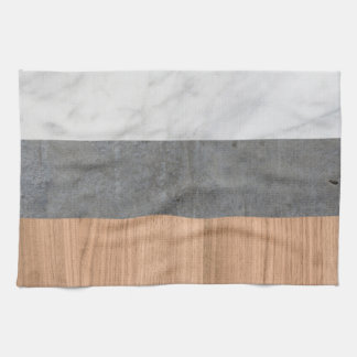 Carrara Marble, Concrete, and Teak Wood Abstract Towel