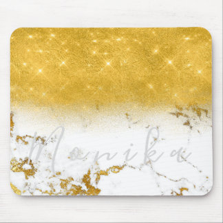Carrara Minimal Name Gold White Gray Marble Mouse Pad