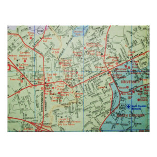 Carrboro and Chapel Hill, NC Vintage Map Poster