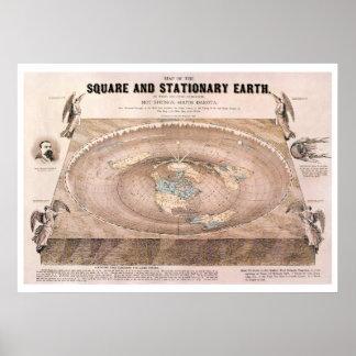 """""""Carré et"""" carte plate stationnaire de la terre"""