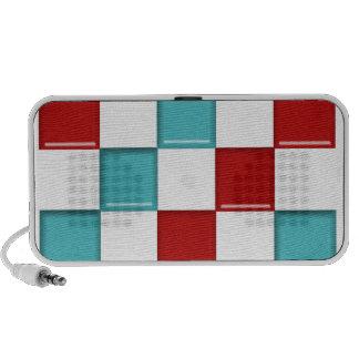Carré sur rouge et bleu carrés haut-parleur iPod