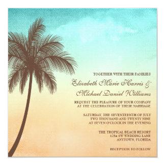 Carré tropical de mariage de palmier de plage carton d'invitation  13,33 cm