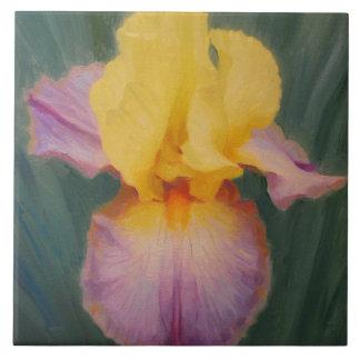 Carreau de céramique de lavande et d'iris jaune