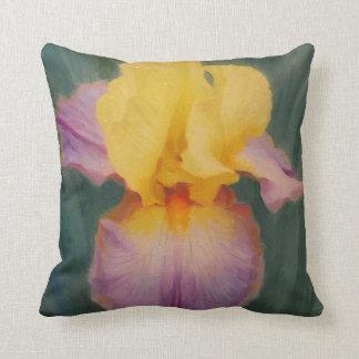 Carreau de lavande et d'iris jaune coussin