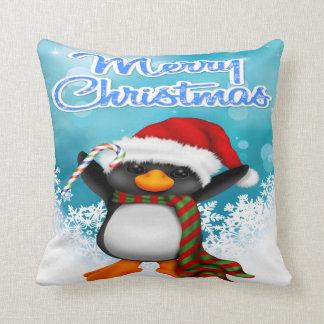 Carreau de pingouin de Joyeux Noël Coussin Décoratif