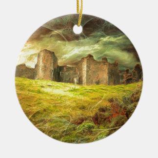 Carreg Cennen Castle .... Round Ceramic Ornament