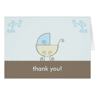 Carriage Baby Shower Thank You - Blue and Green Note Card