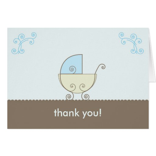 Carriage Baby Shower Thank You - Blue and Green Cards
